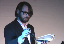 Aaron Tucker reading from Irresponsible Mediums: The Chess Games of Marcel Duchamp at the 2017 BookThug Fall Launch