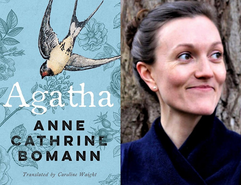 A photo of Anne Cathrine Bomann and her novel, Agatha, translated by Caroline Waight