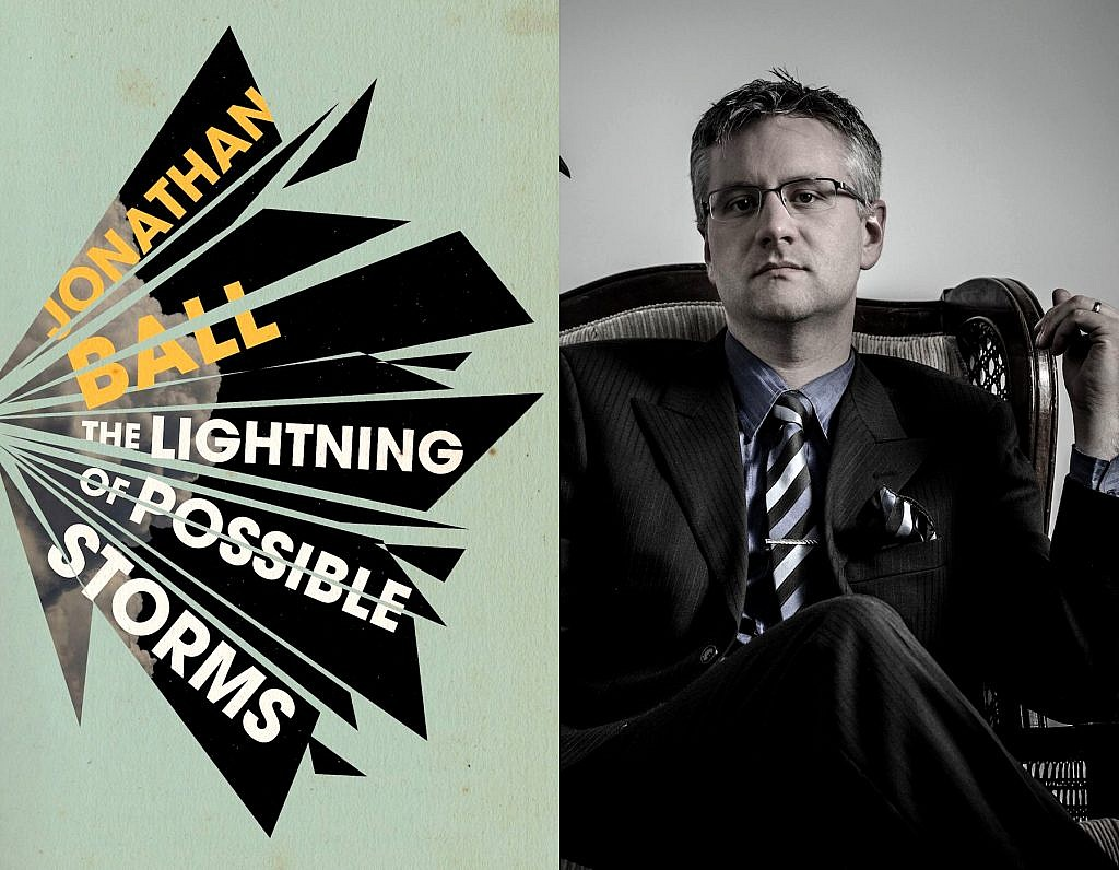 A photo of Jonathan Ball and his short story collection, The Lightning of Possible Storms
