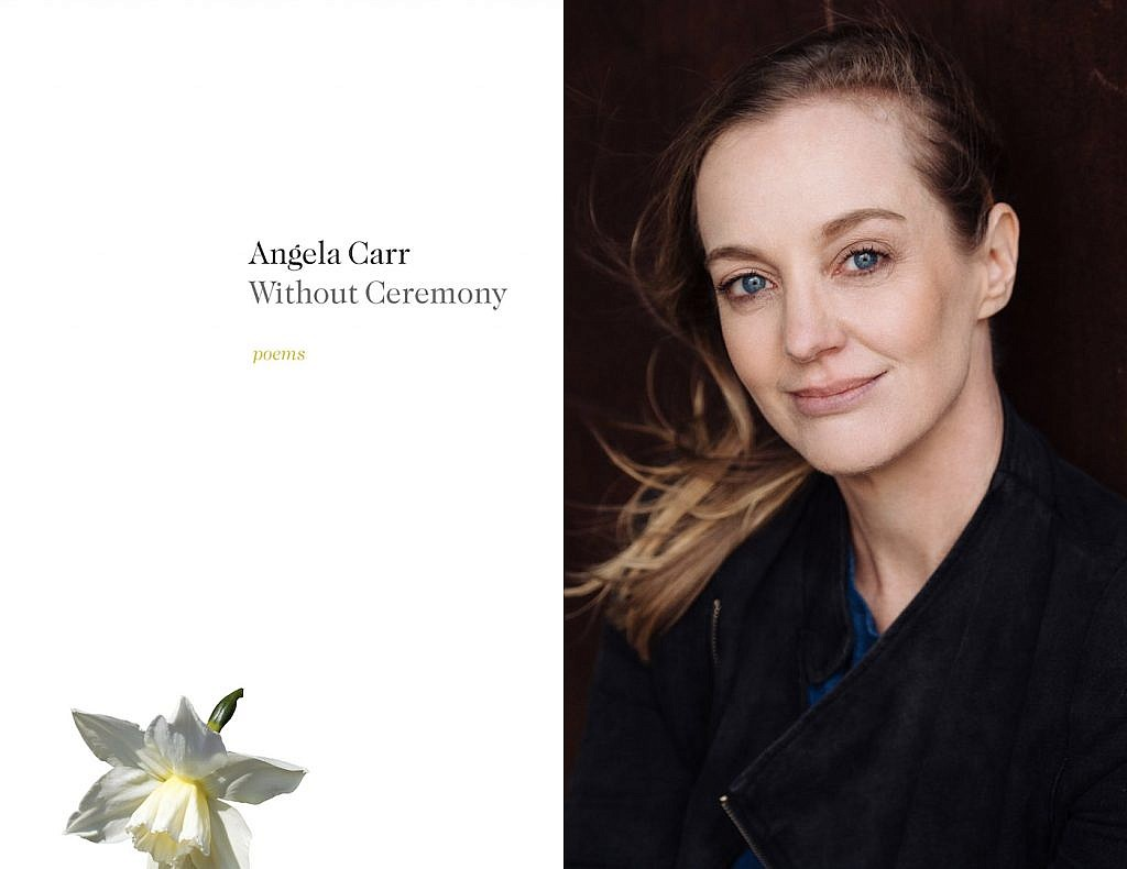 An image of Angela Carr and her poetry collection Without Ceremony