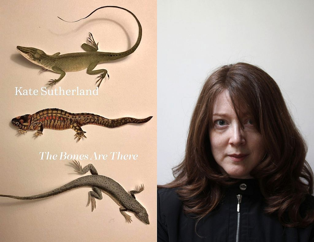 Kate Sutherland pictured with her forthcoming poetry collection, The Bones Are There