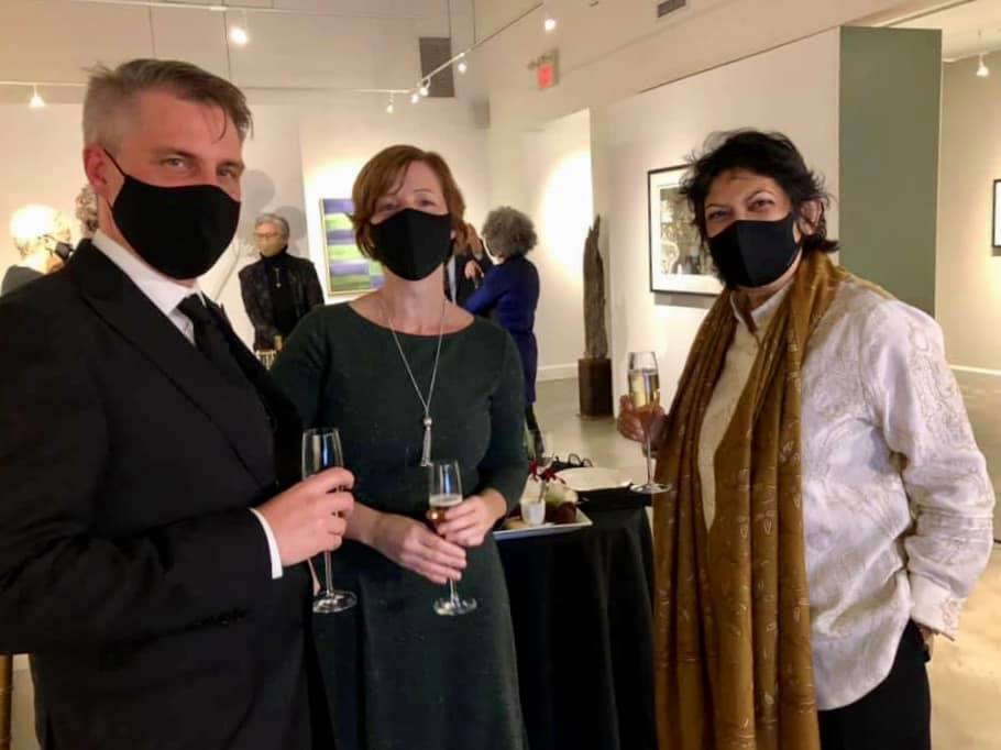 A photo of Shani Mootoo, Hazel Millar, and Jay Millar