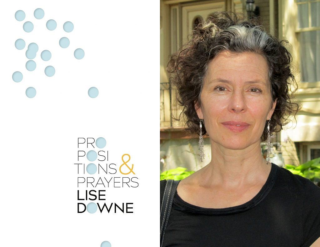 A photo of Lise Downe and her poetry collection Propositions and Prayers