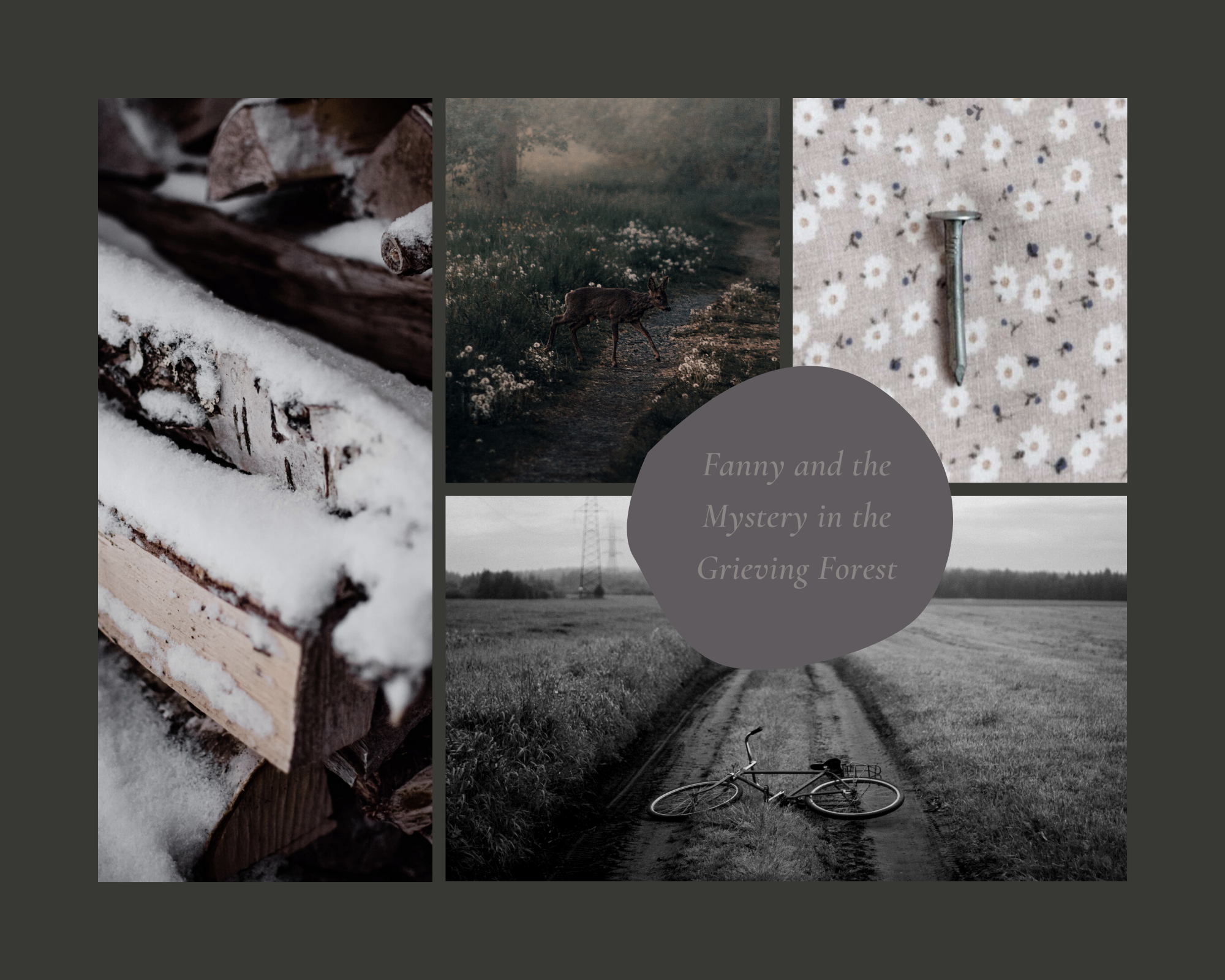 A mood board inspired by the Rune Christiansen novel, Fanny and the Mystery in the Grieving Forest