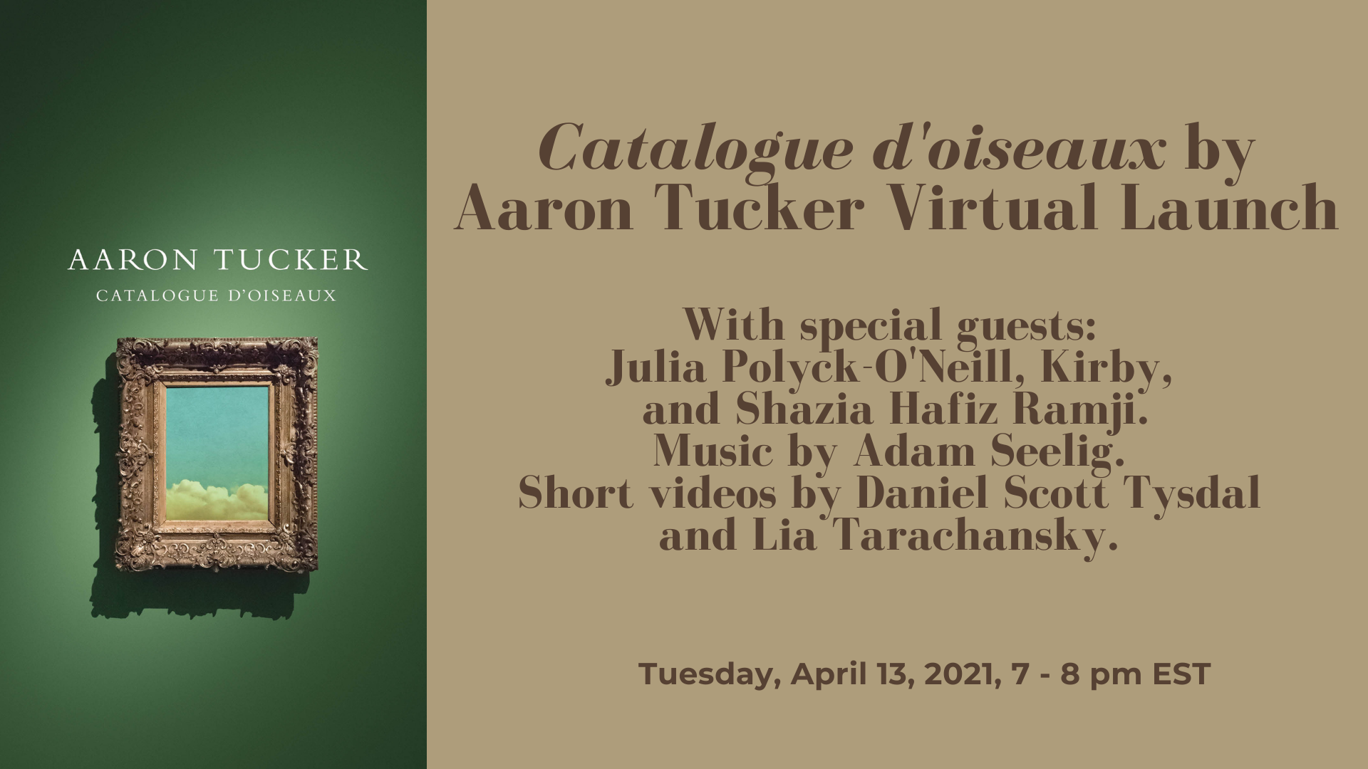 Catalogue d'oiseaux by Aaron Tucker Virtual Launch
