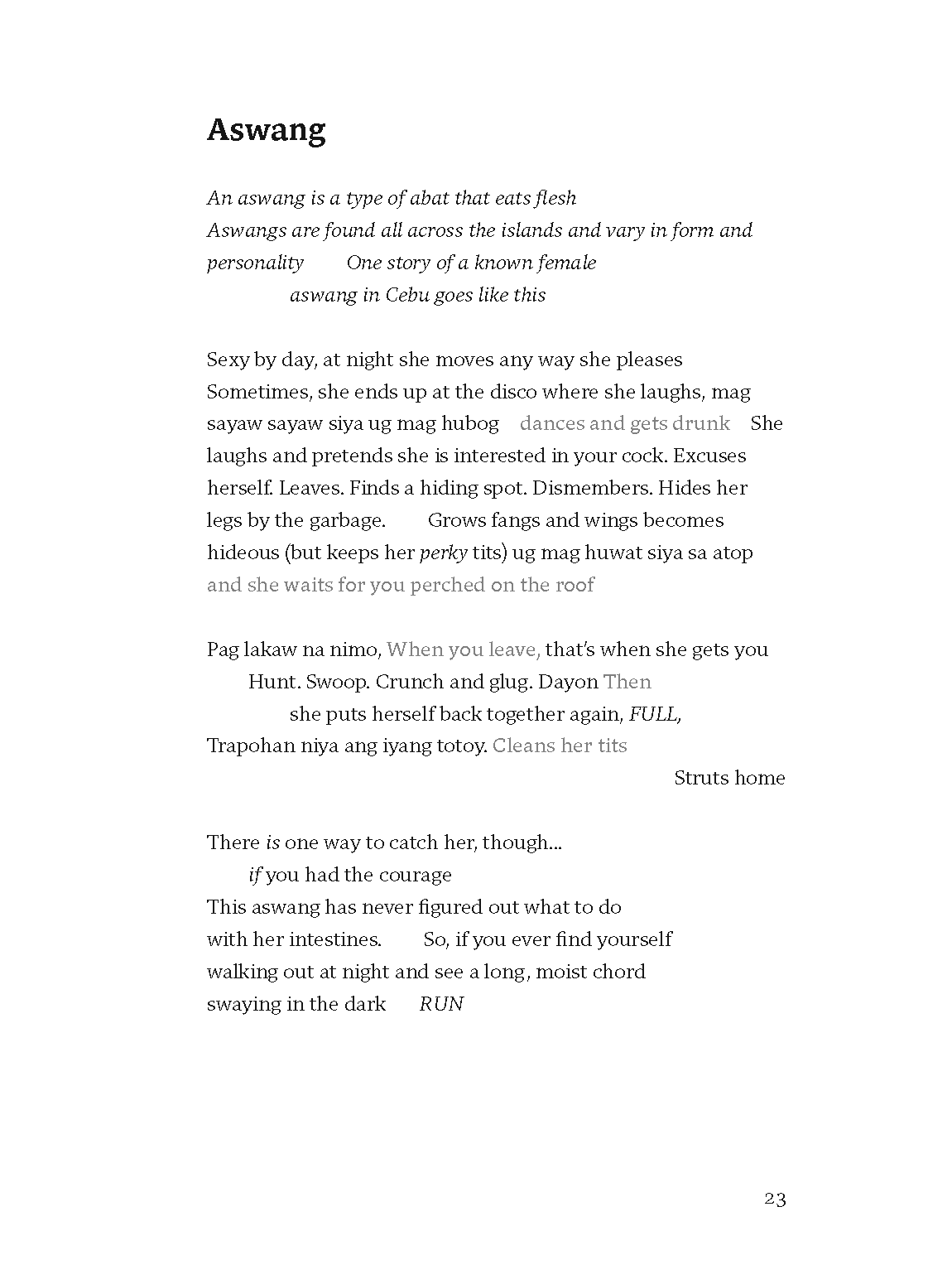 """Therese Estacion's poem, """"Aswang,"""" excerpted from Phantompains"""