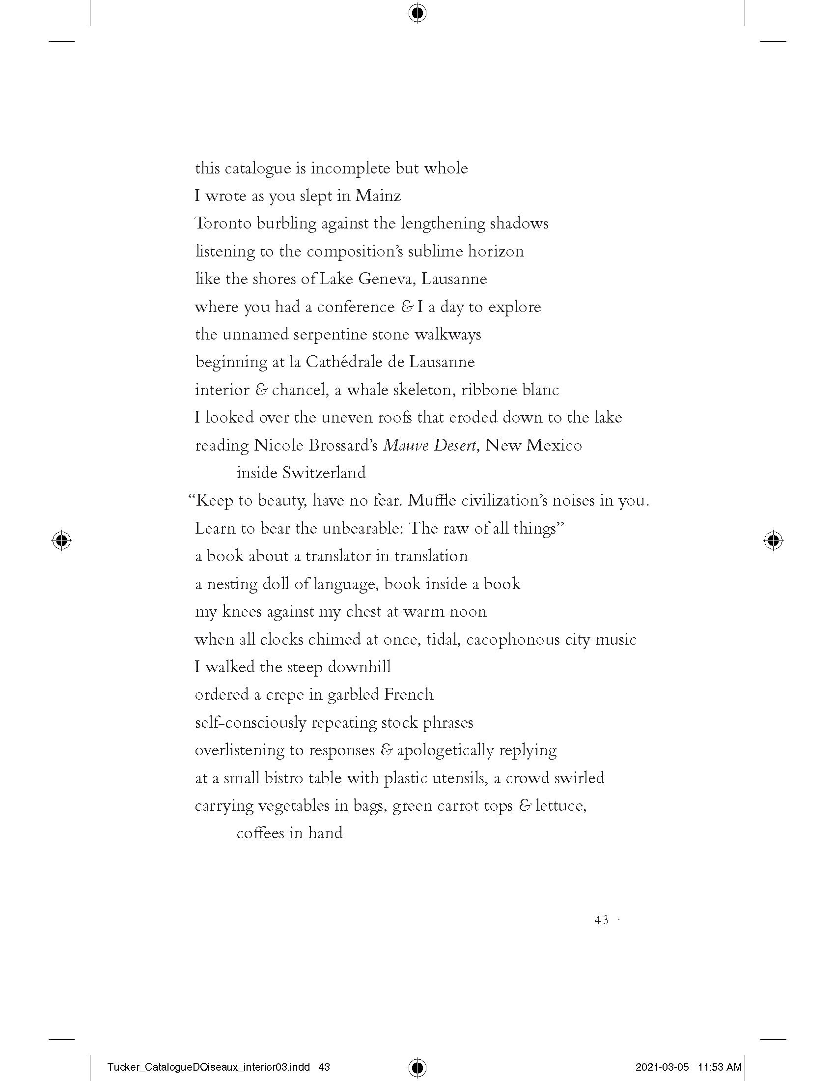 """""""Catalogue d'oiseaux,"""" pp. 43"""